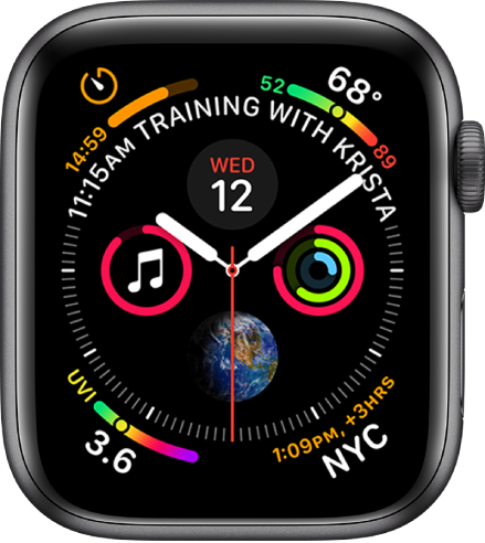 The Infograph watch face showing complications in each corner and four subdials in the middle. A calendar event is displayed on a curve above the clock dial.