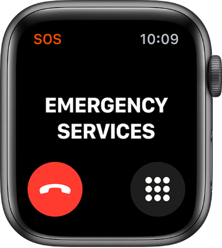 The Emergency Services screen with the word Connecting near the top. A disconnect call button appears at the bottom left and a keypad button appears at the bottom right.