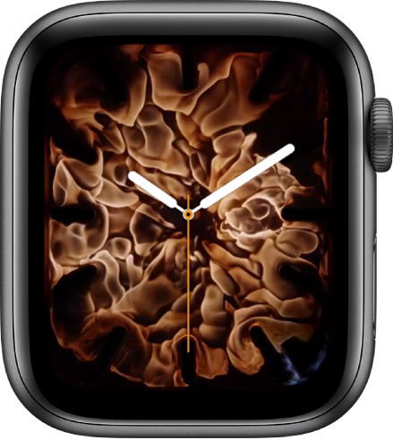 The Fire and Water watch face showing an analog clock in the middle and fire around it.