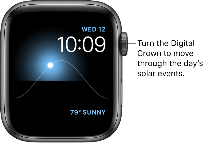The Solar watch face displays the day, date, and current time, which can't be modified. A Weather complication appears at the bottom right. Turn the Digital Crown to move the sun in the sky to dusk, dawn, zenith, sunset, and darkness.