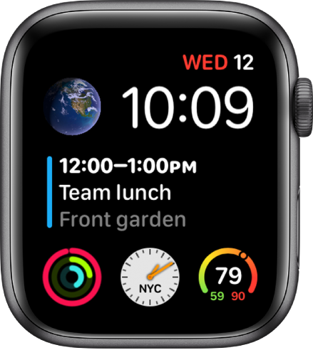 The Infograph Modular watch face showing the day, date, and time at the top right, a calendar event in the middle, and three subdials near the bottom.