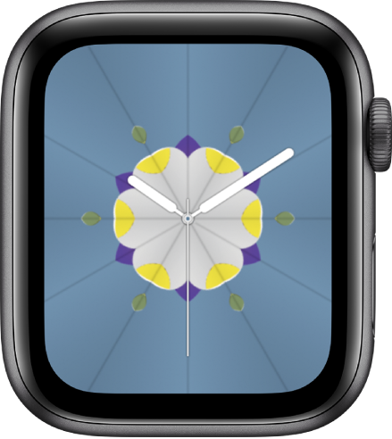 The Kaleidoscope watch face where you can add complications, and adjust the watch face patterns. It shows the Activity complication at the top left, the Workout complication at the top right, and the Weather Conditions complication at the bottom.