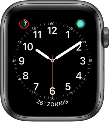 De wijzerplaat Handig, waarvan je de kleur van de secondewijzer en de cijfers en het detailniveau van de klok kunt aanpassen.
