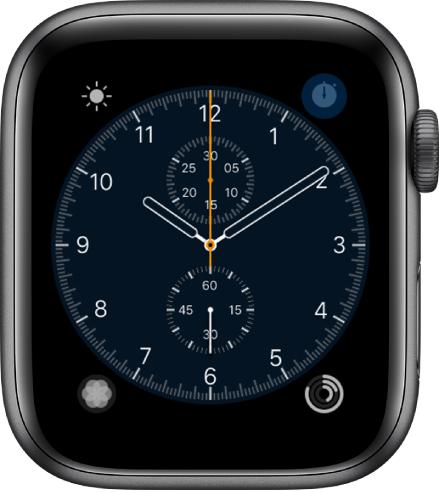 De wijzerplaat Chronograaf, waarvan je de wijzerplaatkleur en het detailniveau van de klok kunt aanpassen. Er worden vier complicaties weergegeven: Linksboven Weer, rechtsboven Stopwatch, linksonder Ademhaling en rechtsonder Activiteit.