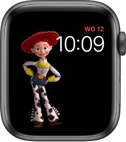 De wijzerplaat ToyStory met rechtsboven de dag, datum en tijd en links in het midden een animatieafbeelding van Jessie.