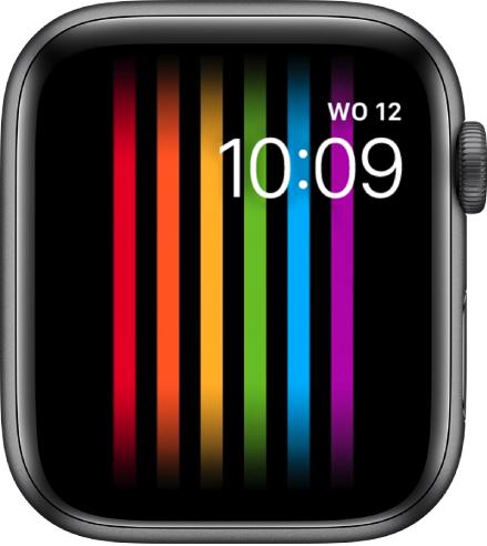De wijzerplaat Pride met verticale regenboogstrepen en rechtsbovenin de dag, datum en tijd.