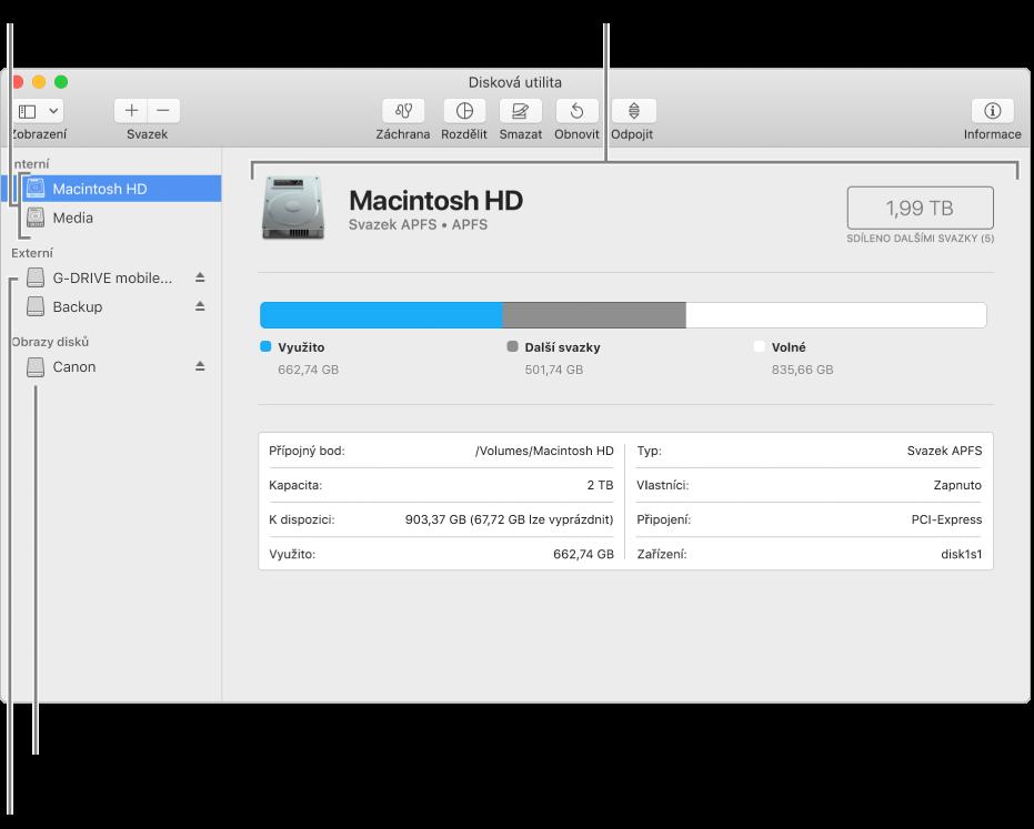 Okno Diskové utility, vněmž je vidět APFS svazek na interním disku, svazek na externím disku aobraz disku