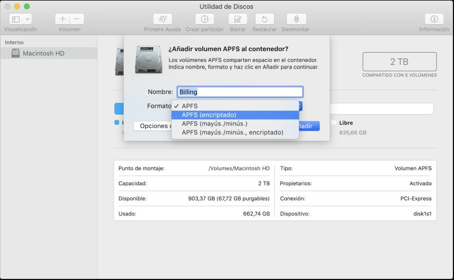 """La opción """"APFS (encriptado)"""" en el menú Formato"""