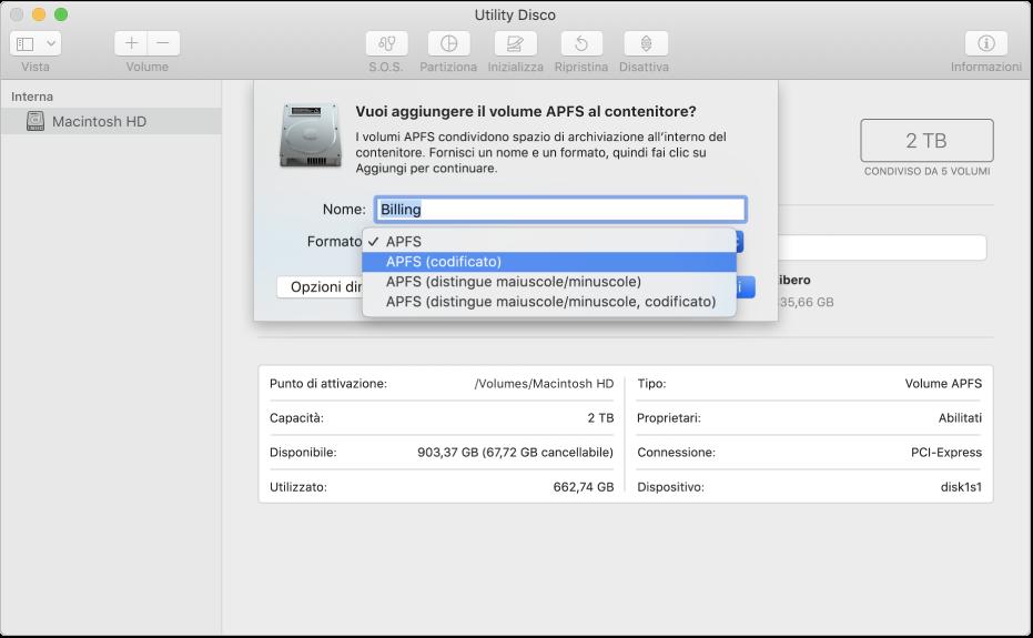 Opzione APFS (codificato) nel menu Formato.