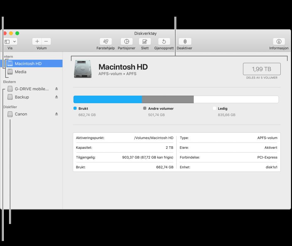 Diskverktøy-vinduet som viser et APFS-volum på en intern disk, et volum på en ekstern disk og en diskfil.