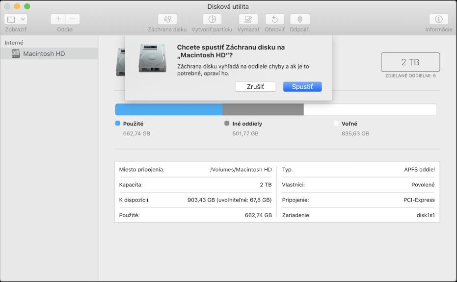 Dialógové okno Záchrana disku na paneli snástrojmi Diskovej utility.