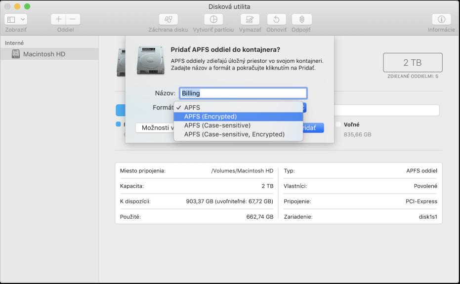 Možnosť APFS (Encrypted) vmenu Formát.