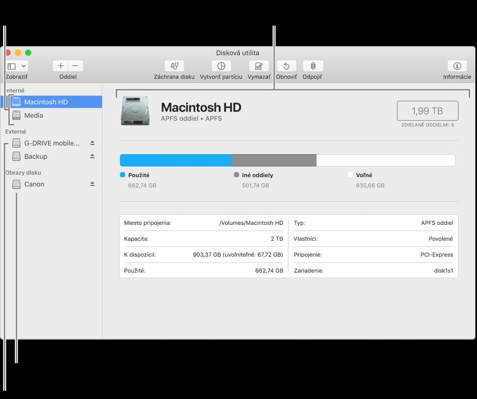 Okno Diskovej utility zobrazujúce APFS oddiel na internom disku, oddiel na externom disku aobraz disku.