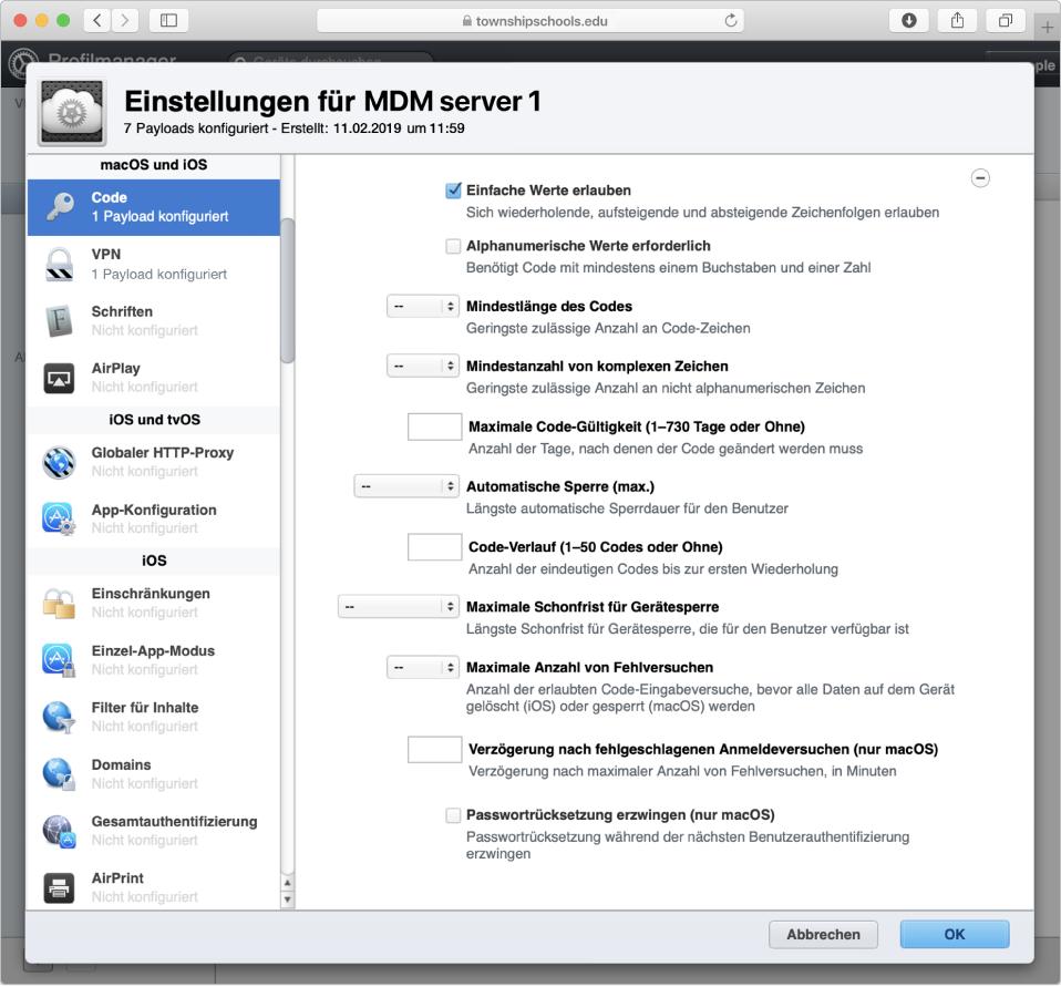 Der Profilmanager kann Apple-Geräte und Einstellungen wie Passworteinstellungen verwalten.