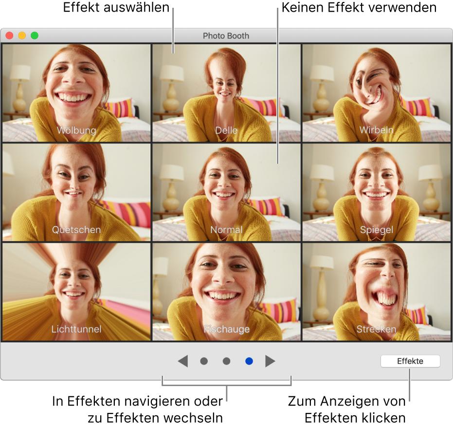 """Das Photo Booth-Fenster zeigt eine Seite mit Effekten wie """"Spiegeln"""" sowie Tasten zum Suchen unten in der Mitte des Fensters. Die Taste """"Effekte"""" wird unten rechts im Fenster angezeigt."""