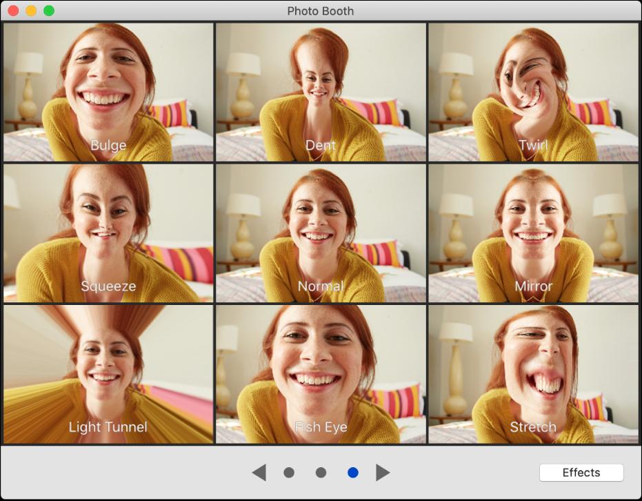 """Das Photo Booth-Fenster zeigt Effekte zum Auswählen wie """"Dehnen"""" sowie die Tasten zum Suchen unten in der Mitte des Fensters. Die Taste """"Effekte"""" wird unten rechts im Fenster angezeigt."""
