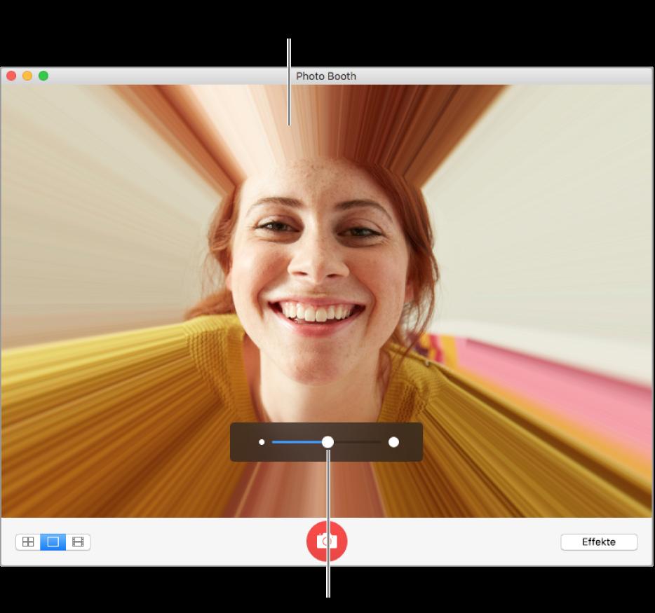 Das Photo Booth-Fenster zeigt eine Vorschau des Verzerrungseffekts und den Regler, um diesen Effekt anzupassen.