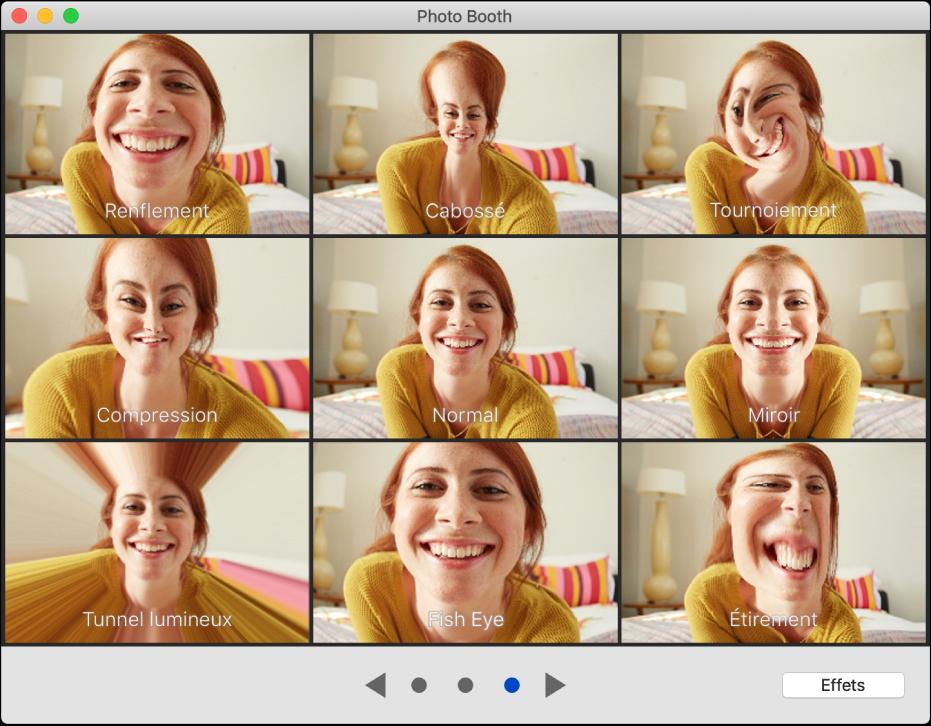 La fenêtre PhotoBooth affichant des effets à choisir tels qu'Étirement, ainsi que les boutons de navigation en bas de la fenêtre. Le bouton Effets figure en bas à droite de la fenêtre.