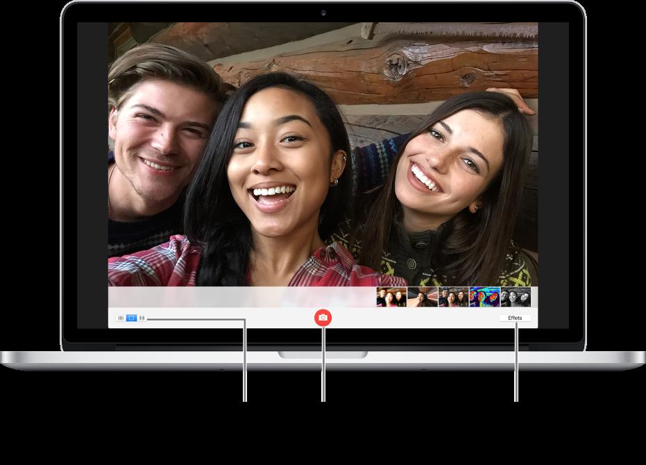 La fenêtre en représentant PhotoBooth avec le bouton Prendre une photo sélectionné. L'option permettant de prendre une seule photo est sélectionnée en bas à gauche de la fenêtre. Le bouton Effets est activé en bas à droite de la fenêtre.