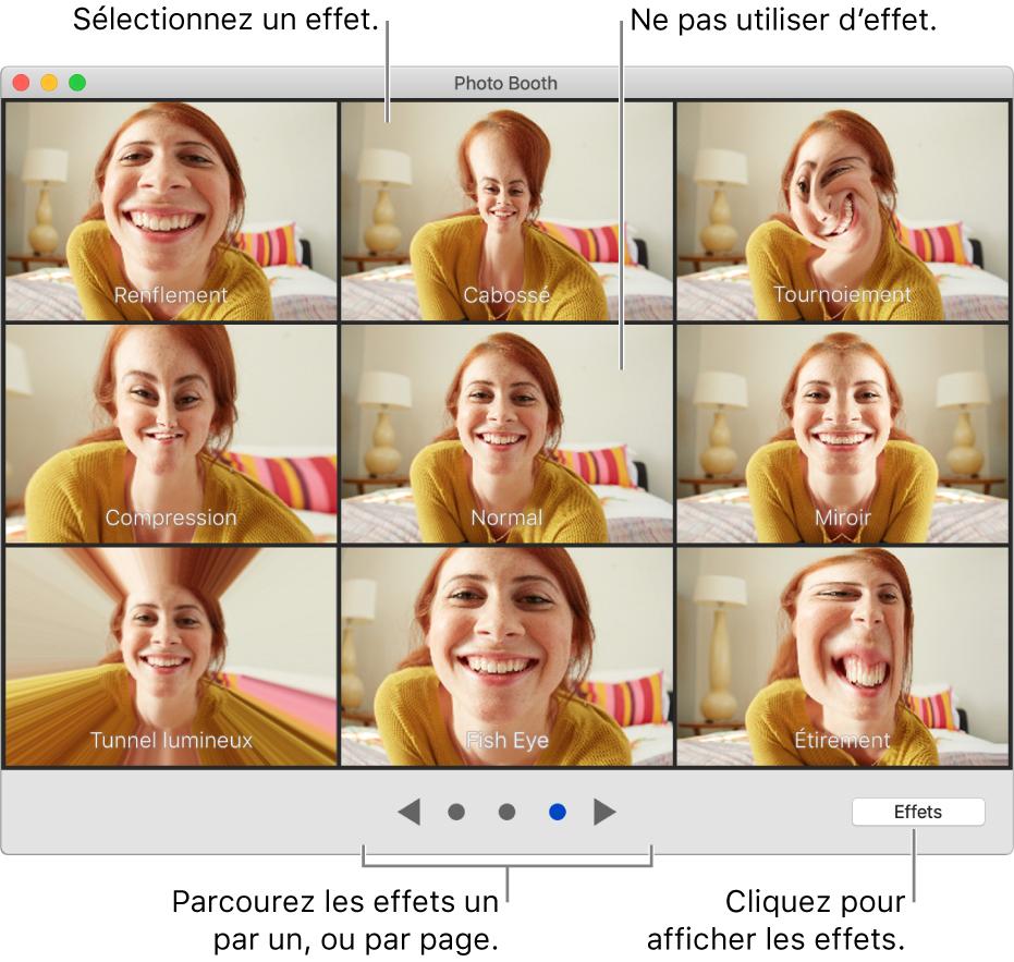 La fenêtre PhotoBooth affichant une page d'effets tels que Miroir ainsi que les boutons de navigation en bas au centre de la fenêtre. Le bouton Effets figure en bas à droite de la fenêtre.