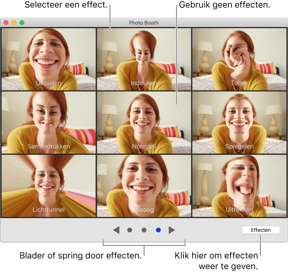Het Photo Booth-venster met een pagina met effecten zoals 'Spiegelen' en onder aan het venster de knoppen om door de effecten te bladeren. De knop 'Effecten' bevindt zich rechtsonder in het venster.