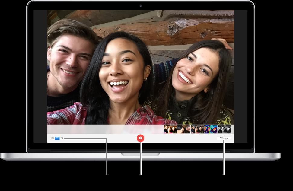 Het Photo Booth-venster met de fotoknop geselecteerd. Linksonder in het scherm is de optie voor een enkele foto geselecteerd en de knop 'Effecten' bevindt zich rechtsonder in het scherm.