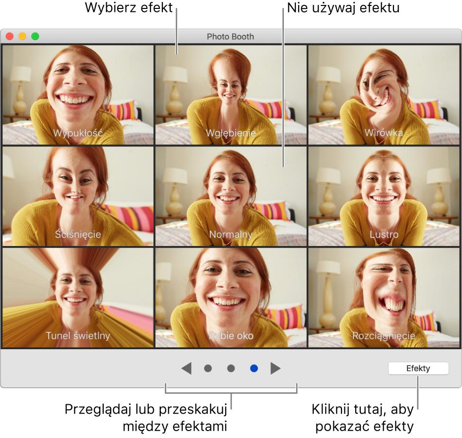 Okno aplikacji Photo Booth zawierające stronę efektów, takich jak Lustro, oraz przyciski na dole po środku okna. Przycisk Efekty pojawia się wprawej dolnej części okna.