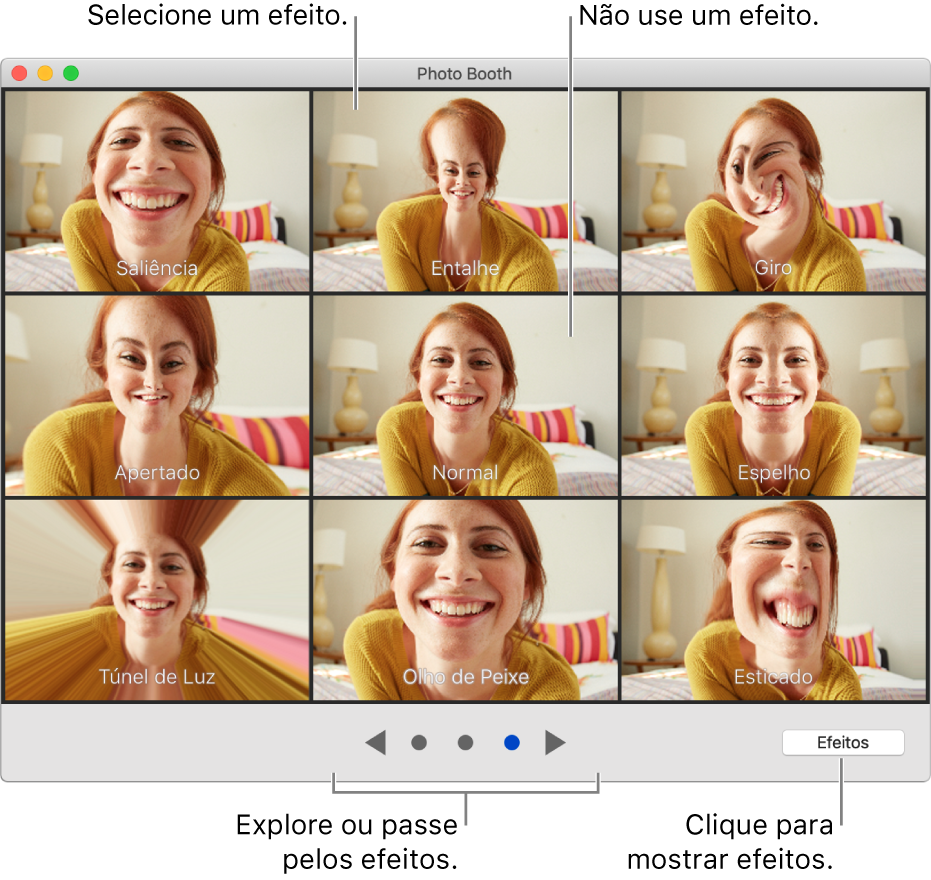 Janela do Photo Booth mostrando uma página de efeitos, como Espelho, e os botões de navegação na parte inferior central da janela. O botão Efeitos aparece na parte inferior direita da janela.