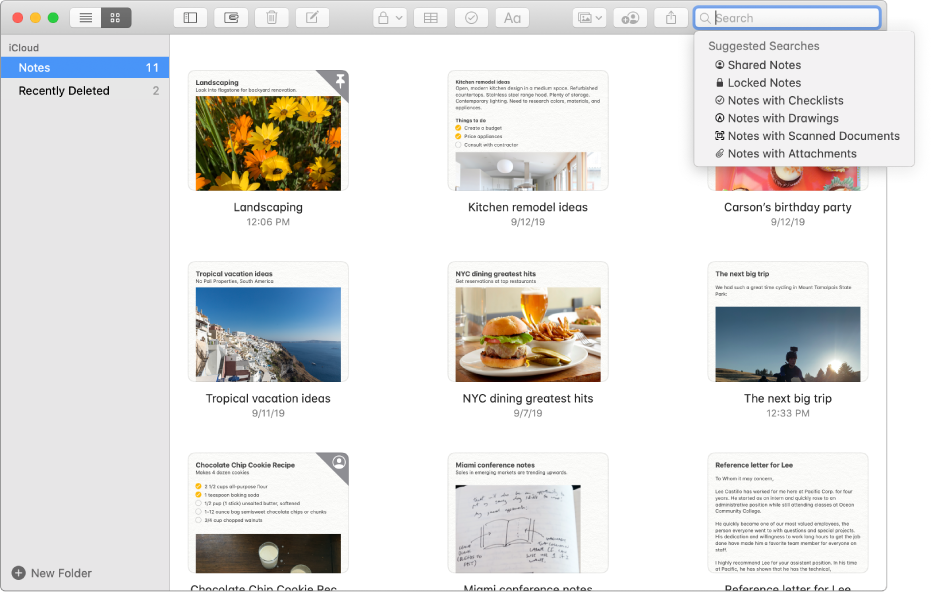 Notes in gallery view — showing the content of each in a thumbnail. Suggested searches appear in the top-right corner, such as locked notes and notes with attachments.