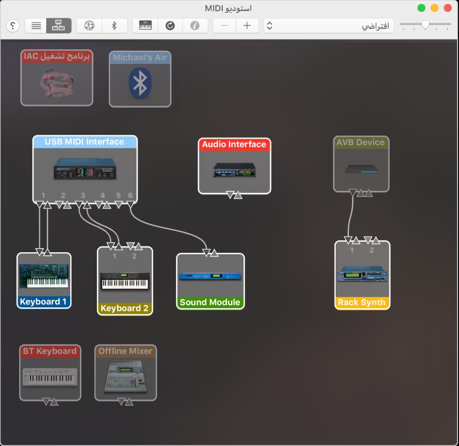 نافذة استوديو MIDI تظهر أجهزة MIDI متعددة في عرض هرمي.