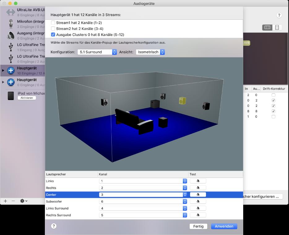 """Das Fenster """"Audiogeräte"""" zeigt ein Hauptgerät in isometrischer 3D-Darstellung. In der Liste der Streams oben im Fenster ist ein Stream mit 8 Kanälen ausgewählt. Der mittlere Lautsprecher ist in der 3D-Darstellung und in der Lautsprecherliste unter der Darstellung ausgewählt."""