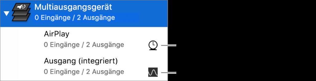 Eine Liste mit zwei Ausgabegeräten, die zu einem Gerät mit mehreren Ausgängen kombiniert sind