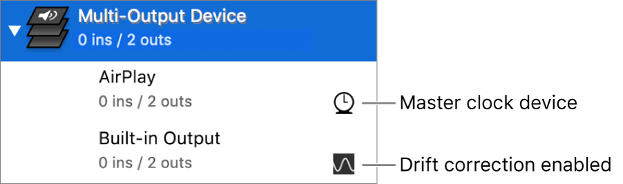 A list of two output devices combined to make a multi-output device.