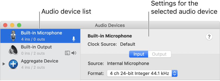The Audio Devices window.