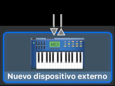 Los conectores de entrada y salida MIDI en la parte superior del ícono para un nuevo dispositivo externo.