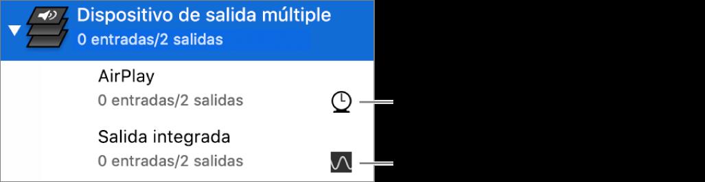 Una lista de dos dispositivos de salida combinados para crear un dispositivo de salida múltiple.