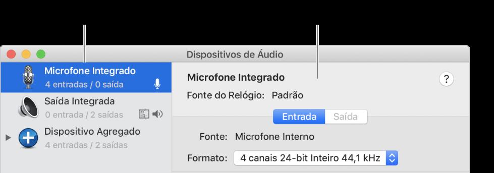 Janela Dispositivos de Áudio.