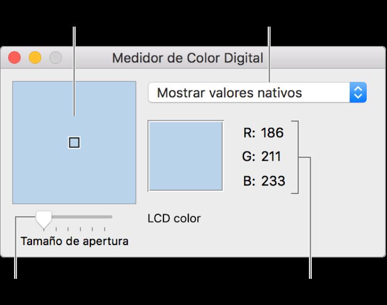 """La ventana de Medidor de Color Digital muestra el color seleccionado en la apertura de la izquierda, el menú desplegable """"Espacio de color"""", los valores del color y el regulador """"Tamaño de apertura""""."""