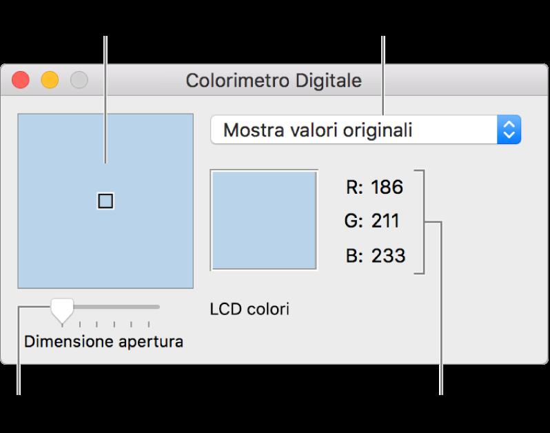 """La finestra di Colorimetro digitale, che mostra il colore selezionato nell'apertura a sinistra, il menu a comparsa Spazio colore, i valori colore e il cursore """"Dimensione apertura""""."""