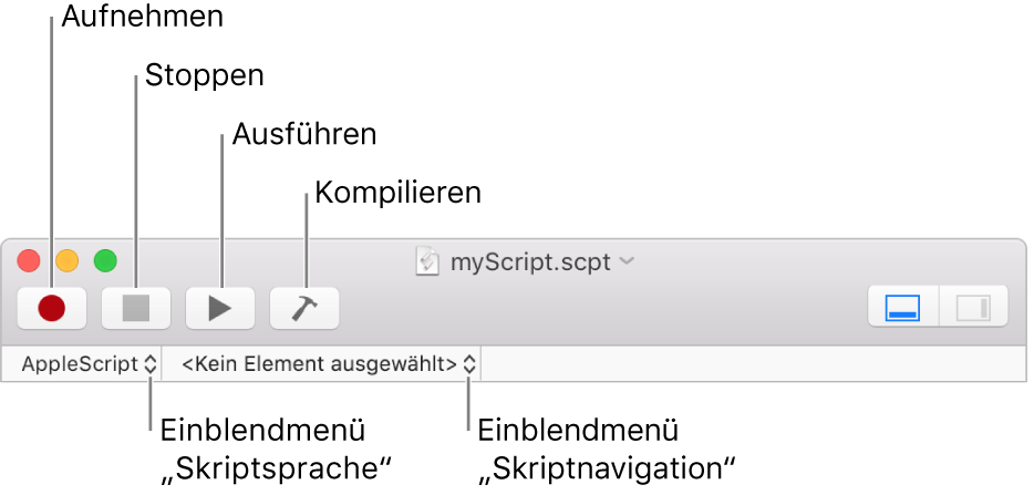 Die Skripteditor-Symbolleiste mit den Steuerelementen für Aufzeichnen, Stoppen, Ausführen, Kompilieren, Skriptsprache und Skriptnavigation