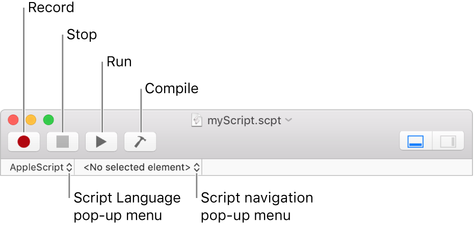 The Script Editor toolbar showing the record, stop, run, compile, script language and script navigation controls.