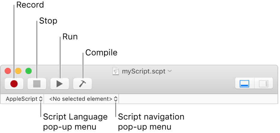 The Script Editor toolbar.