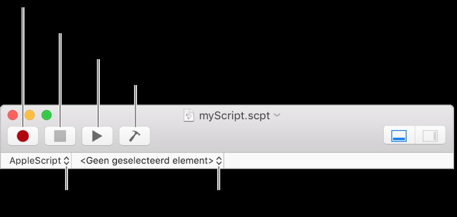 De knoppenbalk van Scripteditor.