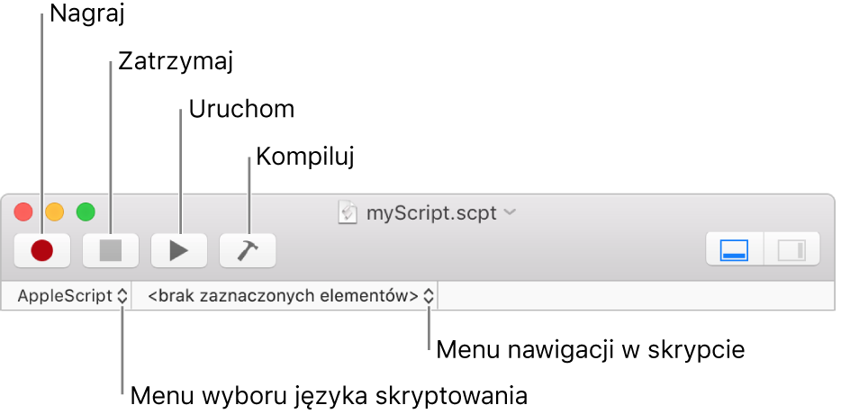 Pasek narzędzi Edytora skryptów znarzędziami do nagrywania, zatrzymywania, uruchamiania, kompilowania, wyboru języka skryptu oraz nawigacji wskrypcie.