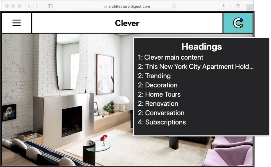 VoiceOver カーソルにある「Safari」の Web ページ。VoiceOver ローターが見出しに設定されています。