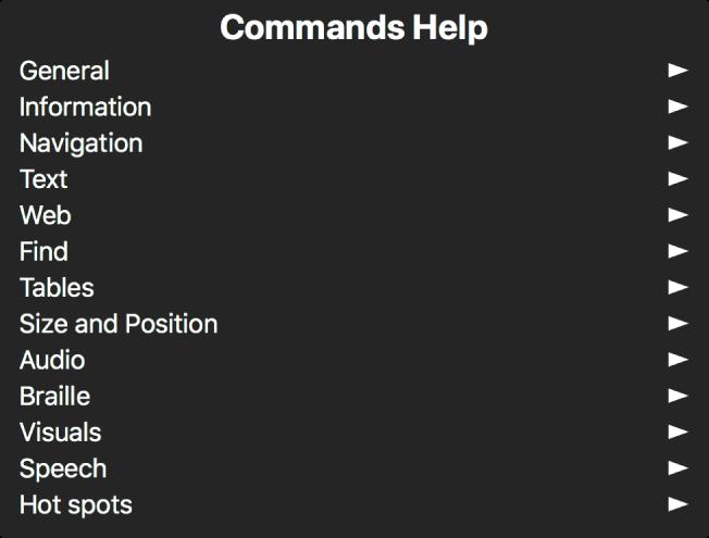 명령 도움말 메뉴는 일반 카테고리부터 시작하여 핫스팟 카테고리까지 있는 명령 카테고리를 나열하는 패널입니다. 목록에 있는 각 항목의 오른쪽에는 항목 하위 메뉴에 접근할 수 있는 화살표가 있습니다.
