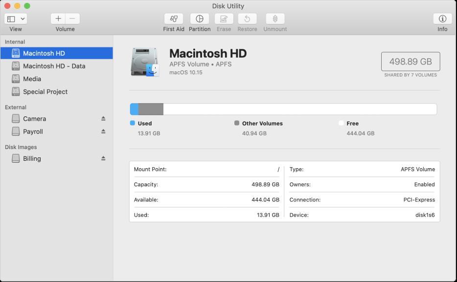 Quatre volums al contenidor APFS a la barra d'eines de la Utilitat de Discos.