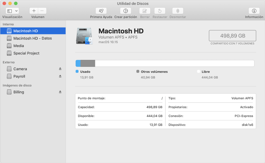 Ventana de Utilidad de Discos en la que se muestra un volumen APFS en un disco interno, un volumen en un disco externo y una imagen de disco.
