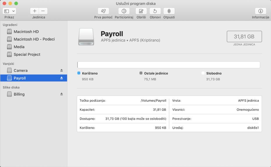 Opcija APFS (kriptirano) u izborniku Format.