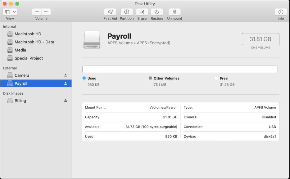 Pilihan APFS (Disulitkan) dalam menu Format.